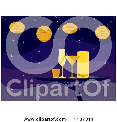 Clipart Server Carrying Cocktail Glasses On A Tray Under Lights Over Purple - Royalty Free Vector Illustration by Amanda Kate