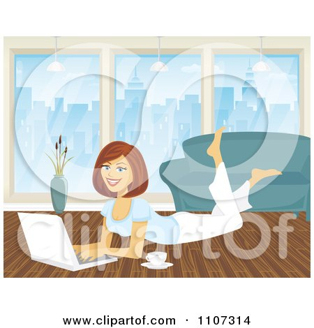 Clipart Happy Woman Working On Her City Apartment Floor With A Laptop And Coffee - Royalty Free Vector Illustration by Amanda Kate