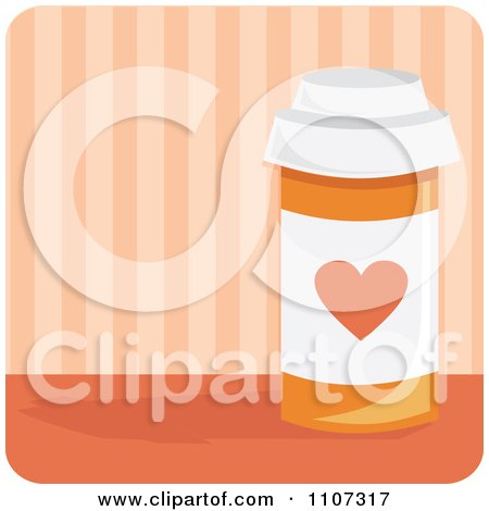 Clipart Bottle Of Heart Medication Pills With A Heart Over Pink Stripes - Royalty Free Vector Illustration by Amanda Kate