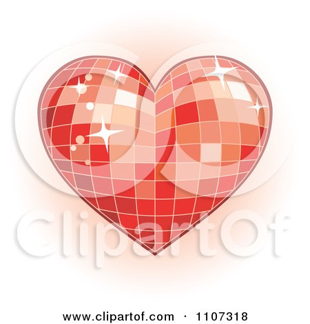 Clipart Red Mosaic Disco Heart - Royalty Free Vector Illustration by Amanda Kate