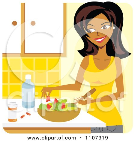 Clipart Beautiful Black Woman Preparing A Salad And Supplements In A Kitchen - Royalty Free Vector Illustration by Amanda Kate