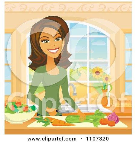 Clipart Beautiful Hispanic Woman Chopping Veggies In A Kitchen - Royalty Free Vector Illustration by Amanda Kate