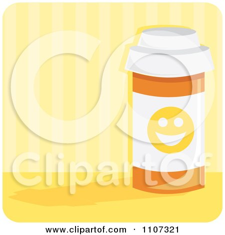 Clipart Bottle Of Anti Depressant Happy Pills With A Smiley Face Over Yellow Stripes - Royalty Free Vector Illustration by Amanda Kate