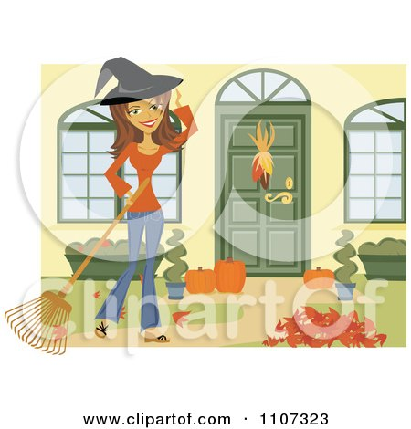 Clipart Happy Woman Wearing A Witch Hat And Raking Her Yard For Halloween - Royalty Free Vector Illustration by Amanda Kate