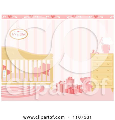 Clipart Girls Baby Nursery Decorated In Pink - Royalty Free Vector Illustration by Amanda Kate