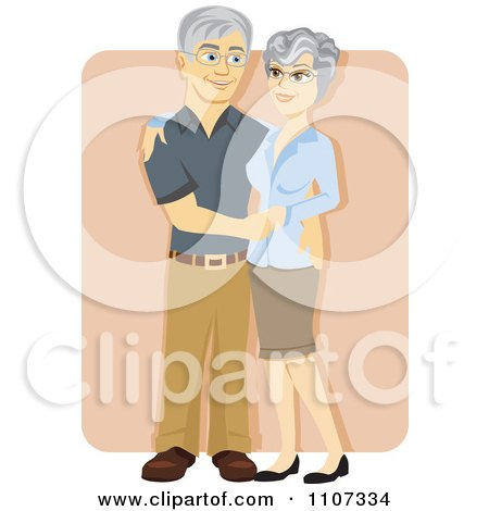 Clipart Happy Senior Couple Embracing And Smiling Over Tan - Royalty Free Vector Illustration by Amanda Kate