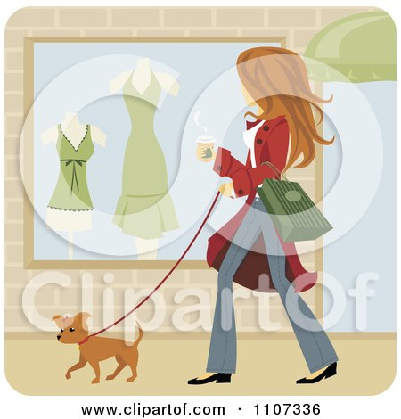 Clipart Woman Walking Her Pooch And Window Shopping With Coffee In Hand - Royalty Free Vector Illustration by Amanda Kate