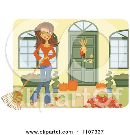 Clipart Happy Brunette Caucasian Woman Raking Leaves In Her Yard - Royalty Free Vector Illustration by Amanda Kate