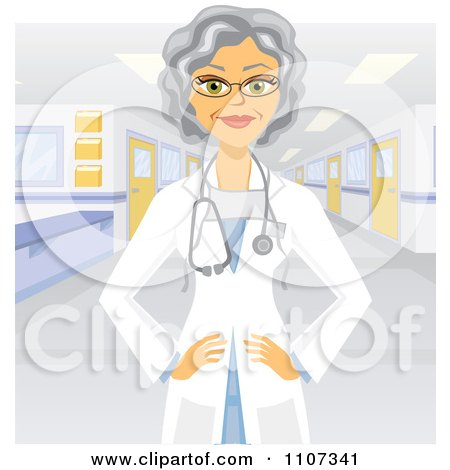 Clipart Female Senior Doctor In A Hospital - Royalty Free Vector Illustration by Amanda Kate