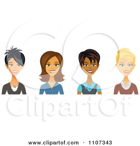 Clipart Asian Hispanic Black And Caucasian Female Business Women Avatars - Royalty Free Vector Illustration by Amanda Kate