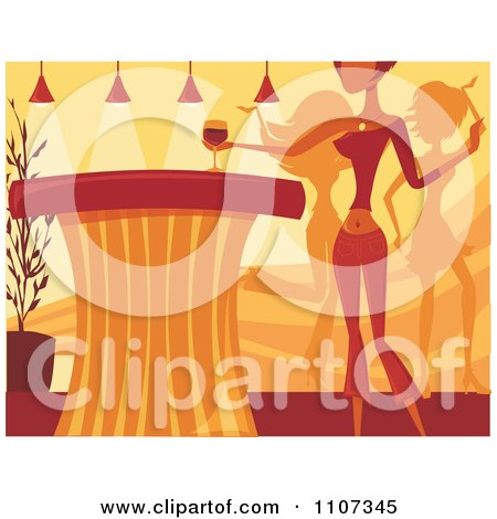 Clipart Woman Reaching For Wine On A Counter As Others Dance In A Night Club - Royalty Free Vector Illustration by Amanda Kate