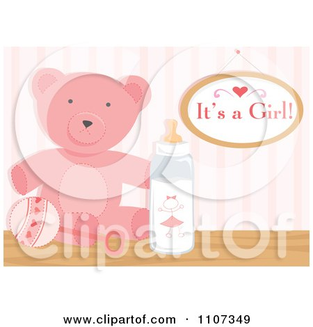 Clipart Pink Teddy Bear Rattle And Baby Bottle With An Its A Girl Sign - Royalty Free Vector Illustration by Amanda Kate