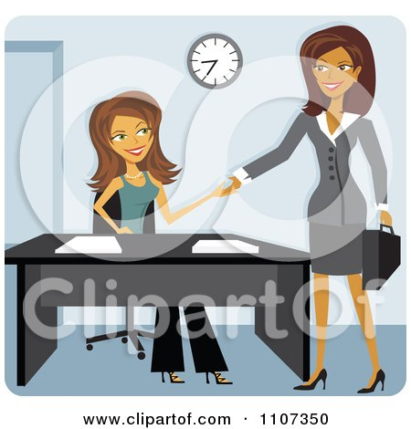 Clipart Two Women Shaking Hands While Meeting For A Job Interview - Royalty Free Vector Illustration by Amanda Kate
