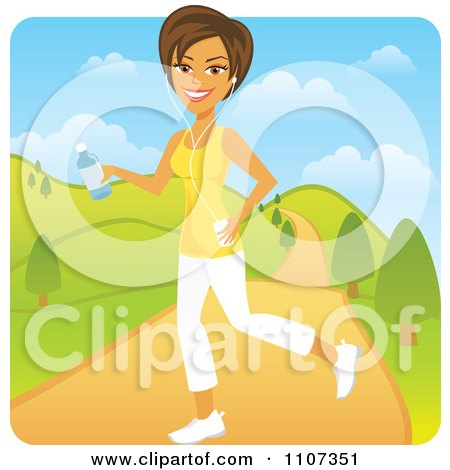 Clipart Happy Brunette Woman Jogging In A Park With An Mp3 Player - Royalty Free Vector Illustration by Amanda Kate