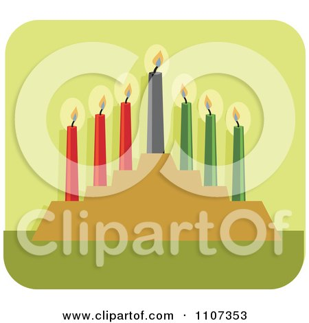 Clipart Lit Kwanzaa Candles On Green - Royalty Free Vector Illustration by Amanda Kate