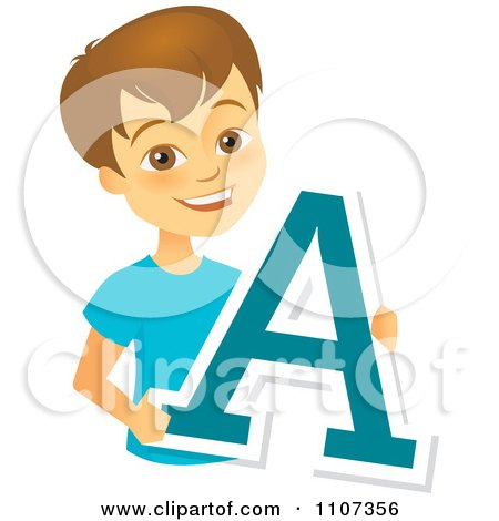Clipart Happy School Boy Holding A Letter A - Royalty Free Vector Illustration by Amanda Kate