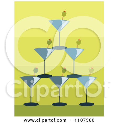 Clipart Pyramid Of Stacked Martini Glasses And Olives Over Gradient Green - Royalty Free Vector Illustration by Amanda Kate