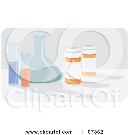 Clipart Medical Science Beakers And Chemicals With Pill Bottles - Royalty Free Vector Illustration by Amanda Kate