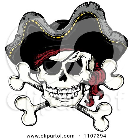 Clipart Jolly Roger Pirate Skull And Cross Bones With A Hat - Royalty Free Vector Illustration by visekart