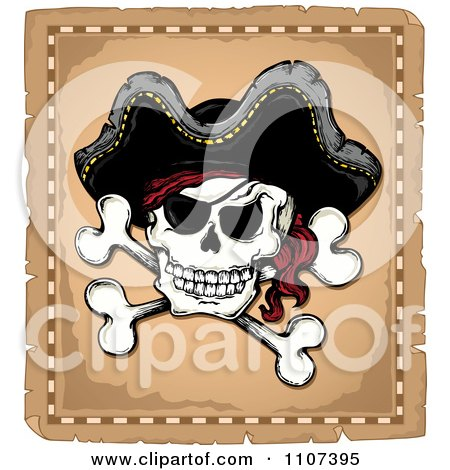 Clipart Jolly Roger Pirate Skull And Cross Bones With A Hat On Parchment - Royalty Free Vector Illustration by visekart