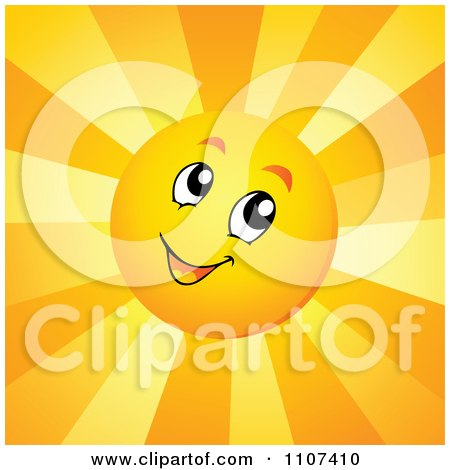 Clipart Cheerful Sun Character With Bright Rays - Royalty Free Vector Illustration by visekart