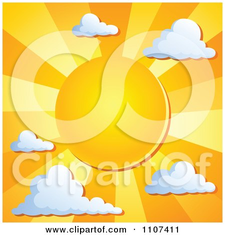Clipart Orange Sun With Rays And Clouds - Royalty Free Vector Illustration by visekart