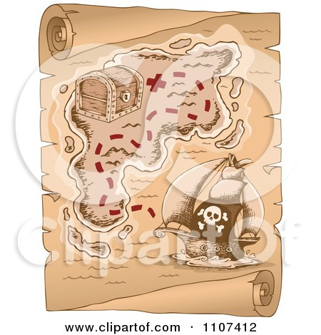 Clipart Pirate Treasure Map On Aged Parchment 1 - Royalty Free Vector Illustration by visekart