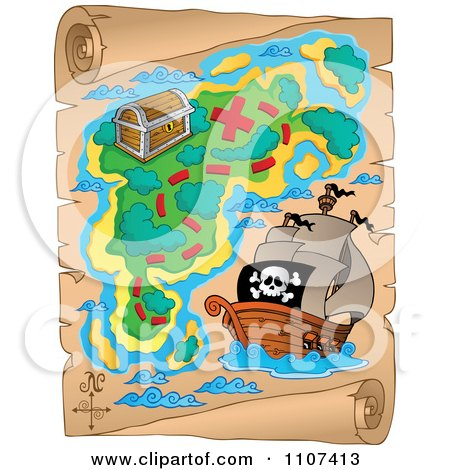 Clipart Pirate Treasure Map On Aged Parchment 2 - Royalty Free Vector Illustration by visekart