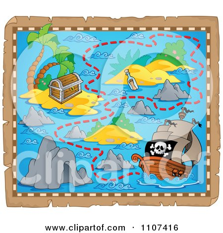 Clipart Pirate Treasure Map On Aged Parchment 4 - Royalty Free Vector Illustration by visekart