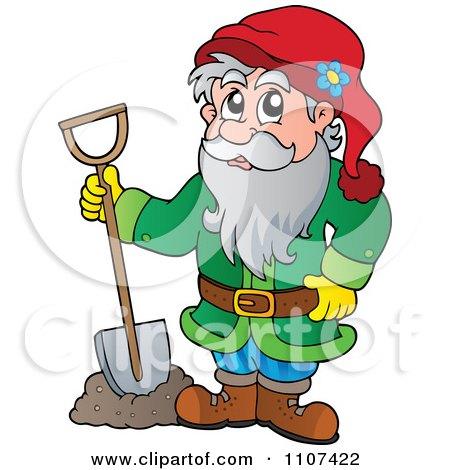 Clipart Garden Dwarf Digging - Royalty Free Vector Illustration by visekart