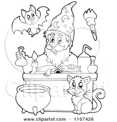 Clipart Outlined Cat Watching A Happy Alchemist Wizard Make A Spell - Royalty Free Vector Illustration by visekart