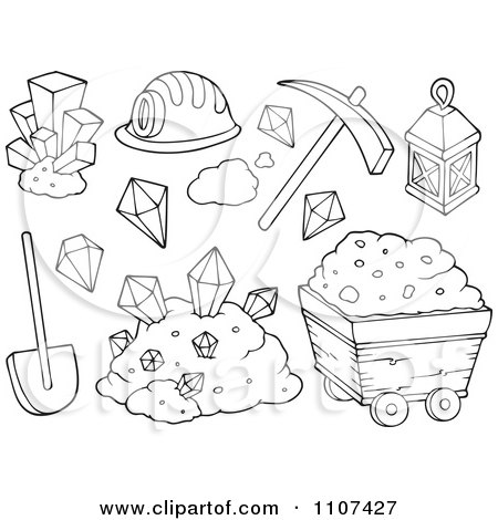 Clipart Outlined Happy Miner In A Cave - Royalty Free Vector Illustration by visekart ...