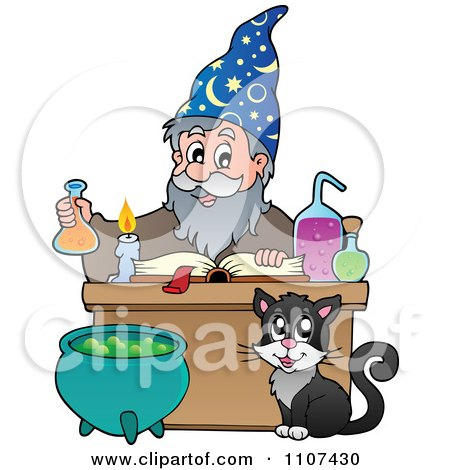 Clipart Cat Watching A Happy Alchemist Wizard Make A Spell - Royalty Free Vector Illustration by visekart