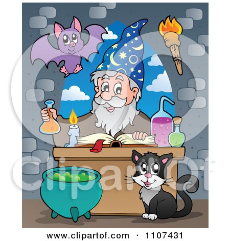 Clipart Bat And Cat Watching A Happy Alchemist Wizard Make A Spell - Royalty Free Vector Illustration by visekart