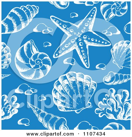Clipart Seamless Blue And White Sketched Sea Shell Pattern - Royalty Free Vector Illustration by visekart