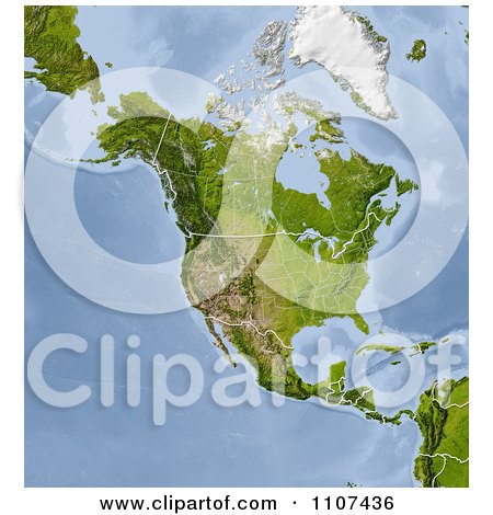 Clipart Shaded Relief Map Of North America With United States And Canada State And Provincial Borders - Royalty Free CGI Illustration by Michael Schmeling