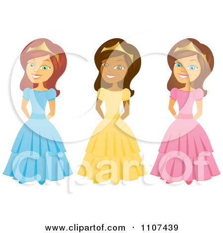 Clipart Happy Black And Caucasian Princesses - Royalty Free Vector Illustration by Amanda Kate