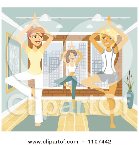 Clipart Three Happy Women In The Tree Pose In Yoga Class - Royalty Free Vector Illustration by Amanda Kate