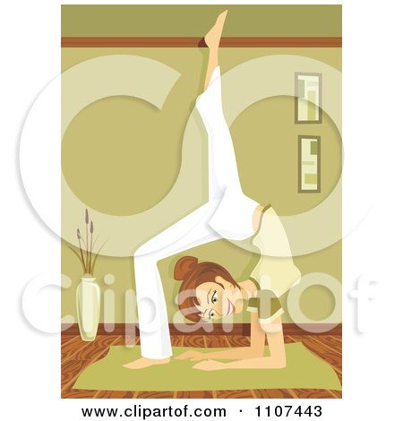 6c4a33d5a1765 Clipart Fit Brunette Woman In The Yoga Scorpion Pose - Royalty Free Vector  Illustration by Amanda
