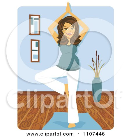 Clipart Happy Brunette Pregnant Woman In A Yoga Tree Pose - Royalty Free Vector Illustration by Amanda Kate