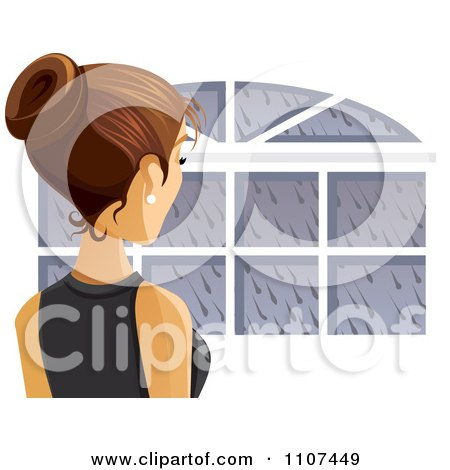 Clipart Rear View Of A Brunette Woman Looking Out A Window On A Rainy Day - Royalty Free Vector Illustration by Amanda Kate
