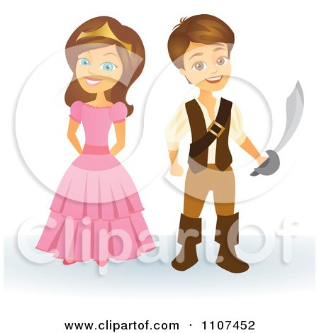 Clipart Happy Princess And Pirate - Royalty Free Vector Illustration by Amanda Kate