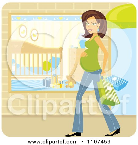 Clipart Happy Brunette Pregnant Woman Shopping For Baby Items - Royalty Free Vector Illustration by Amanda Kate