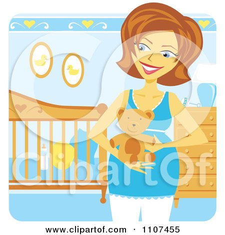 Clipart Happy Pregnant Caucasian Woman Holding A Teddy Bear In A Baby Boy Nursery - Royalty Free Vector Illustration by Amanda Kate