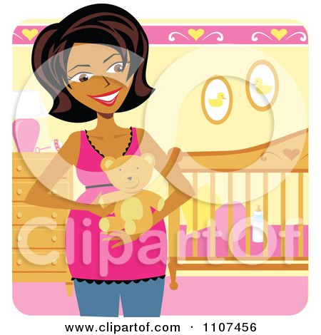 Clipart Happy Pregnant Indian Woman Holding A Teddy Bear In A Baby Girl Nursery - Royalty Free Vector Illustration by Amanda Kate