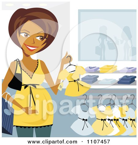 Clipart Happy Pregnant Indian Woman Clothes Shopping For A Baby Girl - Royalty Free Vector Illustration by Amanda Kate