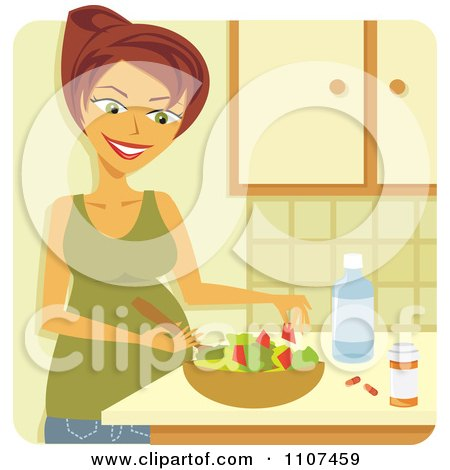 Clipart Happy Pregnant Woman Making A Healthy Salad With Supplements And Water - Royalty Free Vector Illustration by Amanda Kate