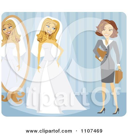 Clipart Friendly Brunette Wedding Planner And Bride Trying On Her Dress Over Blue - Royalty Free Vector Illustration by Amanda Kate