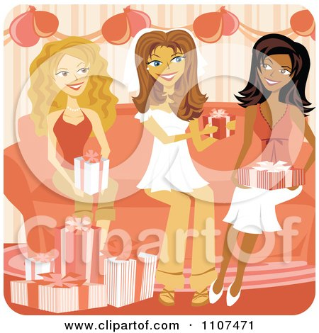 Clipart Friends Presenting A Bride With Gifts At Her Bridal Shower - Royalty Free Vector Illustration by Amanda Kate
