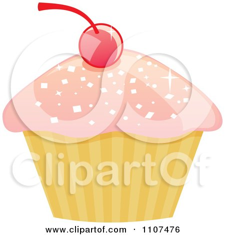 Cupcake With Pink Sparkly Frosting And A Cherry 1 Posters, Art Prints